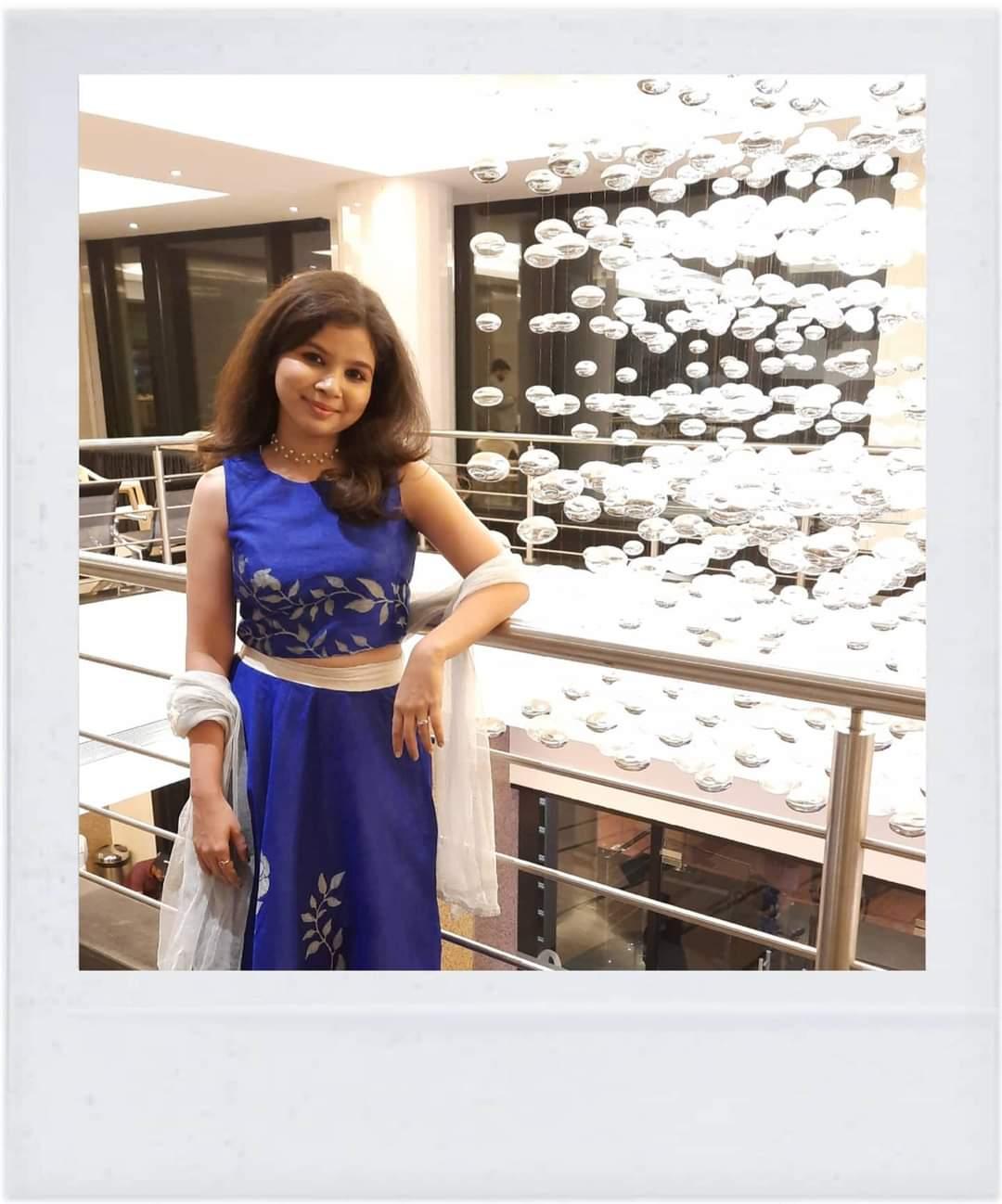 Bhagyashree blue dress